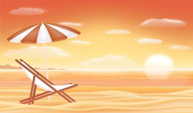 Entspannen sie sich strandstuhlregenschirm mit sonnenuntergangseestrandhintergrund