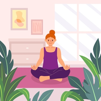 Entspannen sie sich und meditieren sie yoga konzept hand gezeichnet