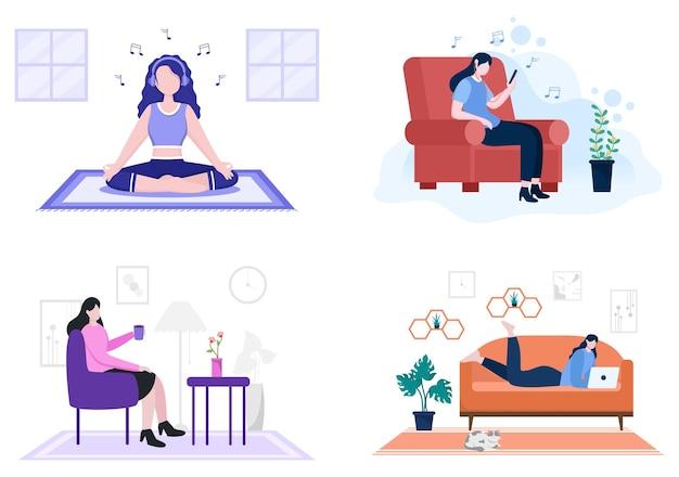 Entspannen sie sich zu hause, um den flachen illustrationsvektor des stresses zu entlasten