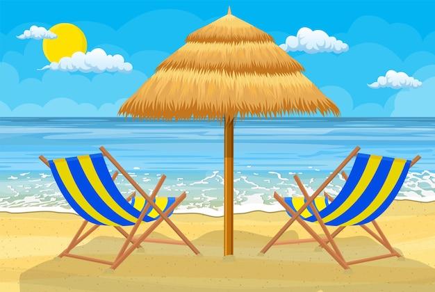 Entspannende szene an einem luftigen tag am tropischen strand.