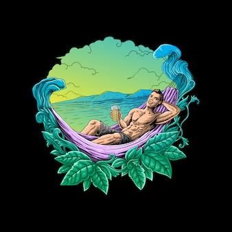 Entspannender urlaub in der sommervektorillustration