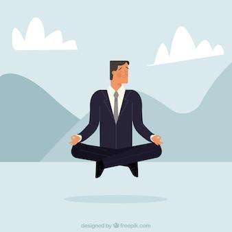 Entspannter geschäftsmann meditiert