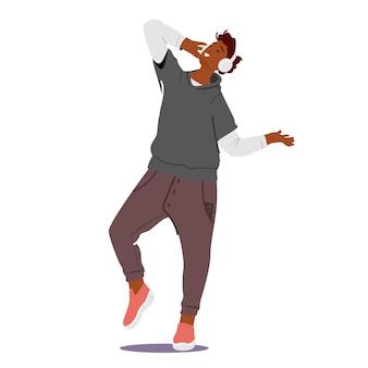 Entspannter männlicher charakter in kopfhörern, die musik in entspannender pose hören, teenager, die klangkomposition oder track genießen. emotionales vergnügen, freizeit, glückliches leben. cartoon-menschen-vektor-illustration