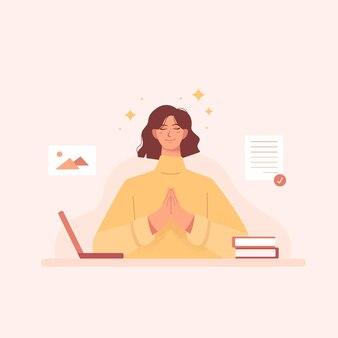 Entspanntes hübsches mädchen, das nach der arbeit oder dem studium im flachen design meditiert