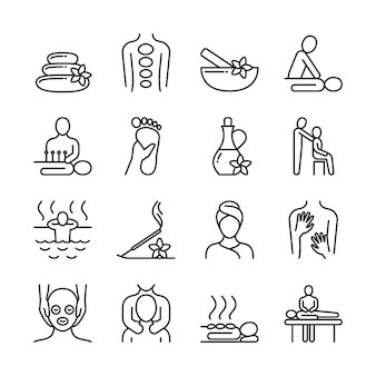 Entspannungsmassage und piktogramme der bio-spa-linie. hand-therapie-vektor-icons. badekurort und therapie, massage für gesundheit und entspannen sich illustration