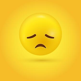 Enttäuschte emoji-figur mit traurigem gesicht - trauer stress bedauern emoticon - 3d-figur