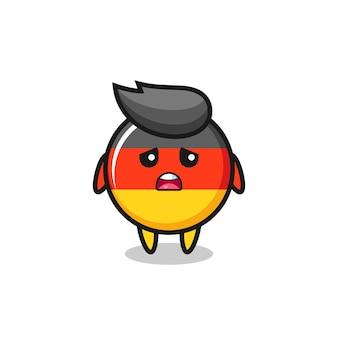 Enttäuschter ausdruck der deutschen flaggenabzeichenkarikatur, niedliches design für t-shirt, aufkleber, logo-element