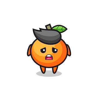 Enttäuschter ausdruck des mandarin-orangen-cartoon, niedliches design für t-shirt, aufkleber, logo-element