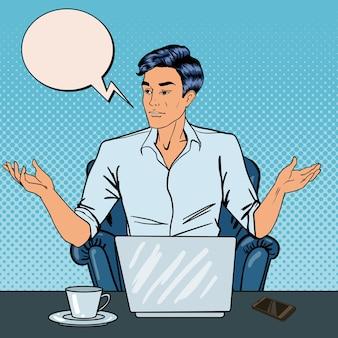 Enttäuschter pop-art-geschäftsmann mit laptop bei der büroarbeit. illustration