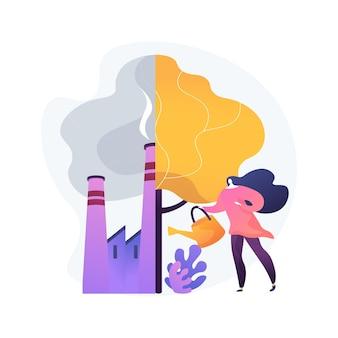 Entwaldungs- und abholzungsproblem. stadtverschmutzung und naturökosystem. wald schützen, wiederaufforstungsidee, urbanisierungsfolgen.