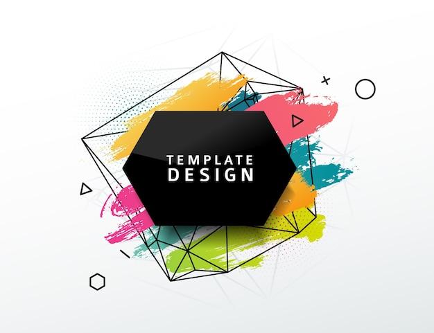 Entwerfen sie abstraktes banner mit einem geometrischen abstrakten hintergrund