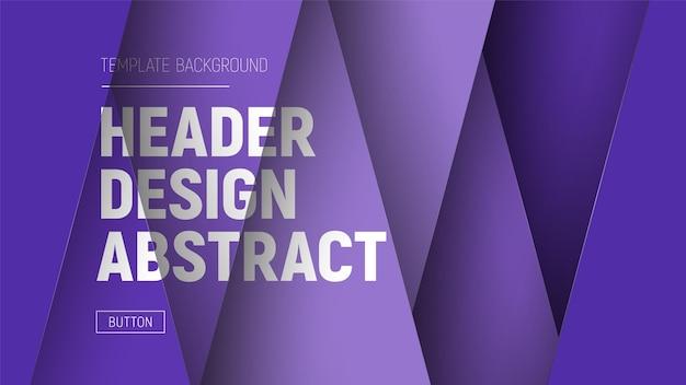 Entwerfen sie den site-header mit lila ebenen und text auf verschiedenen ebenen.