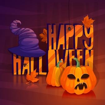 Entwerfen sie ein plakat für halloween-herbstfahne für ein glückliches halloween mit ahornblättern illustration mit einem hexenhut, einem gruseligen kürbis und spinnen