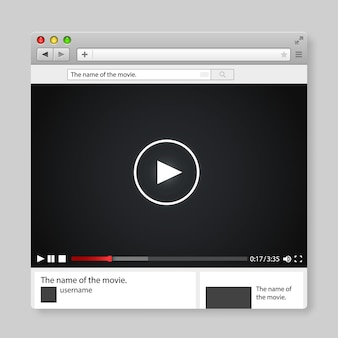 Entwerfen sie eine internetbrowser-videoplayer-vorlage. windows-frame-suche, webseite. vektor-illustration.
