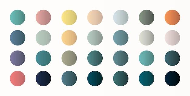 Entwerfen sie eine reihe von farbverlaufsstilen. mit farbmustern auf dem arbeitsblatt