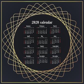 Entwerfen sie einfach tischkalender der 2020-jahr-vorlage.