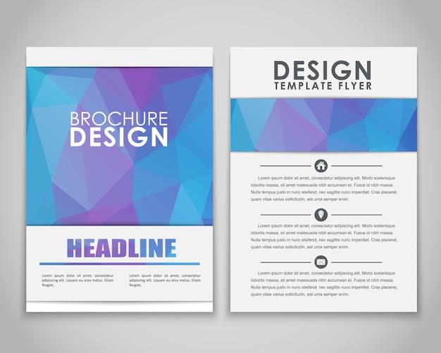 Entwerfen sie flyer und broschüren polygonal