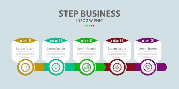Entwerfen sie geschäftsschritte für infografiken