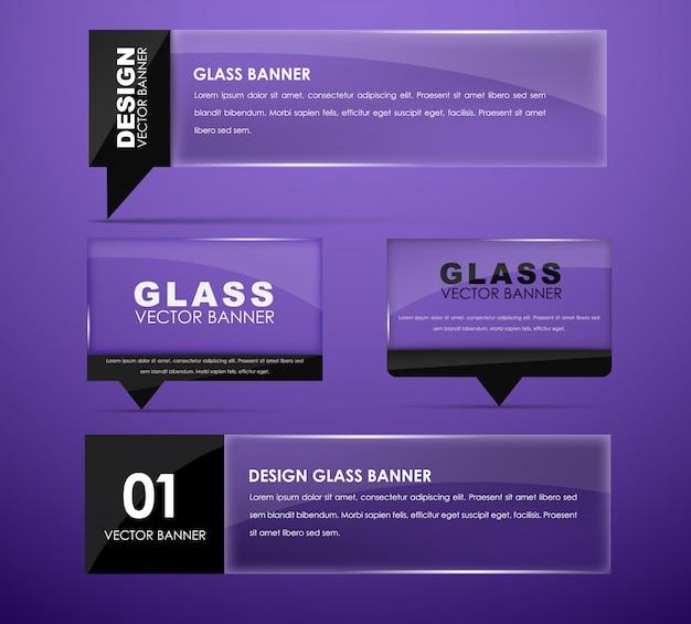 Entwerfen sie glasbanner mit text