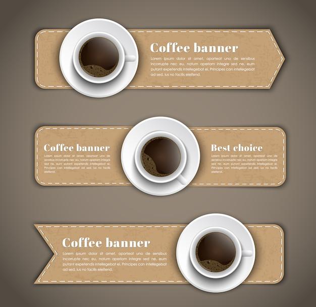 Entwerfen sie kaffee-banner-set mit tassen kaffee