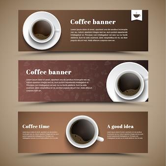 Entwerfen sie kaffeebanner mit einer tasse kaffeesammlung