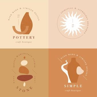 Entwerfen sie lineare vorlagenlogos oder embleme - mysteriöser boho-stil. abstraktes symbol für handgemachte produkte und handwerksboutiquen.