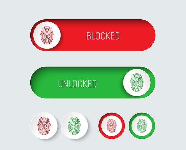 Entwerfen sie schieberegler und schaltflächen rot und grün mit einem fingerabdruck