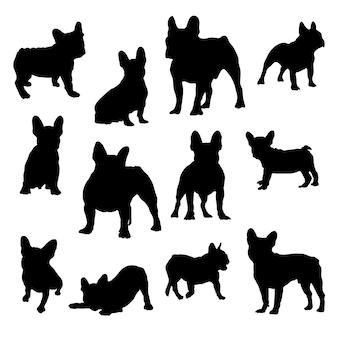 Entwerfen sie schwarze und weiße grafiken der französischen bulldogge in verschiedenen posen