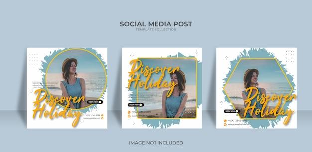 Entwerfen sie vorlagen für social-media-beiträge für reisen