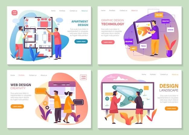Entwerfen sie website-banner und zielseiten von dienstleistungsunternehmen.