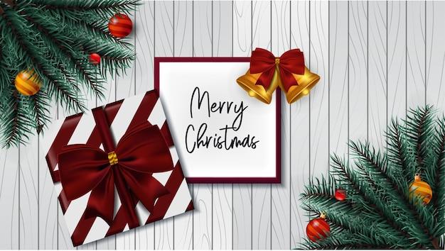 Entwerfen sie weihnachten mit dekoration im holzhintergrund
