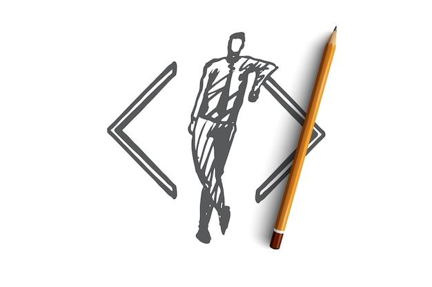 Entwickeln, codieren, software, programmieren, projektkonzept. hand gezeichneter entwickler und symbol der codekonzeptskizze.