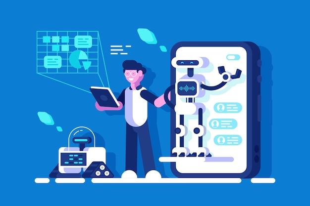 Entwickler, der präsentation der chat-bot-illustration macht