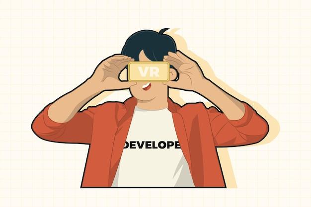 Entwickler des jungen mannes, der vr brille trägt
