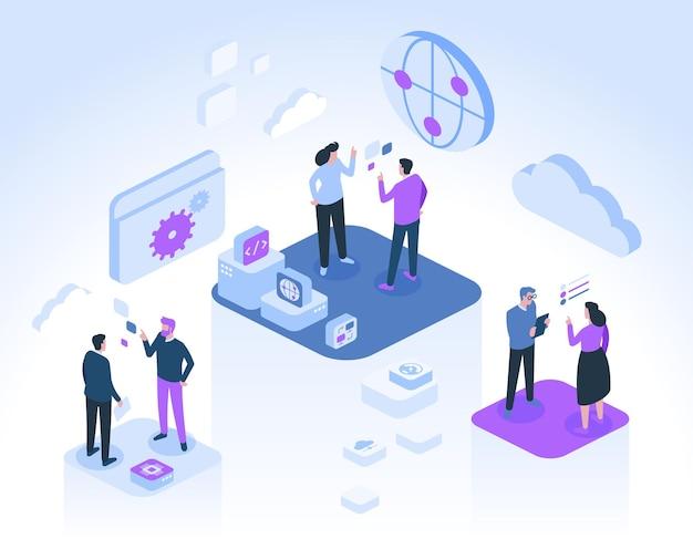 Entwickler kommunizieren und arbeiten gemeinsam an projekten. symbole für internet, globale verbindung, cloud-speicher, programmcodierung, daten, computertechnologie.