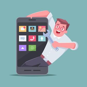 Entwickler mobiler anwendungen. eines mannes mit einem schraubenschlüssel und einem smartphone.