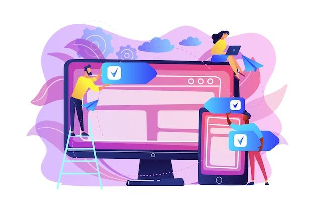 Entwickler verwenden software auf mehreren geräten. plattformübergreifendes software-, plattformübergreifendes und plattformunabhängiges softwarekonzept auf weißem hintergrund. helle lebendige violette isolierte illustration