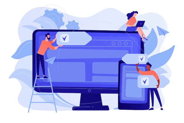 Entwickler verwenden software auf mehreren geräten. plattformübergreifendes software-, plattformübergreifendes und plattformunabhängiges softwarekonzept