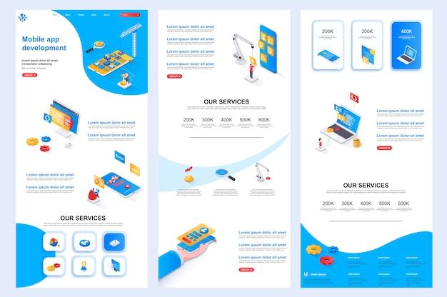 Entwicklung der isometrischen website-vorlage für die mobile app-zielseite mittlerer inhalt und fußzeile
