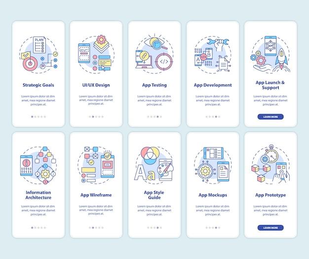 Entwicklung der mobilen app onboarding des seitenbildschirms der mobilen app mit festgelegten konzepten