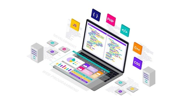 Entwicklung des dashboards für die programmierung der isometrischen illustrationswebsite.