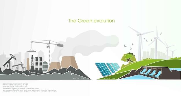 Entwicklung des konzepts der ergrünung der welt für erneuerbare energien.