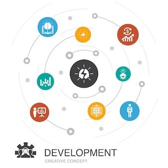 Entwicklung farbiges kreiskonzept mit einfachen symbolen. enthält elemente wie globale lösung, wissen, investor, brainstorming