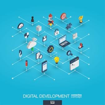 Entwicklung integrierter 3d-web-icons. isometrisches konzept des digitalen netzwerks.