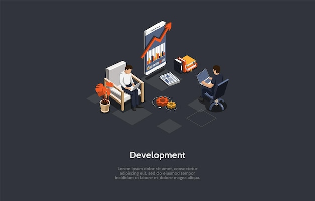 Entwicklung konzeptdesign. cartoon 3d-stil, isometrische vektor-illustration mit text. erfindung verschiedener digitaler technologien, auswirkungen auf die verbesserung der arbeits- und lebensqualität. wissenschaftliche innovationen