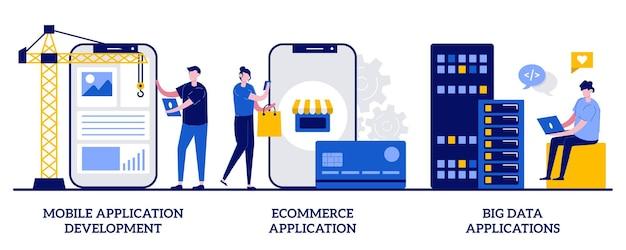 Entwicklung mobiler anwendungen, e-commerce-app, big data. satz kommerzieller software