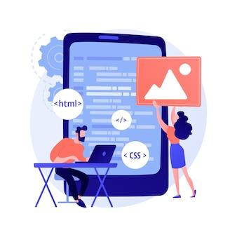 Entwicklung mobiler anwendungen. programmiersprachen. css, html, it, benutzeroberfläche. männliche programmierer-zeichentrickfigur, die website entwickelt, codierung.