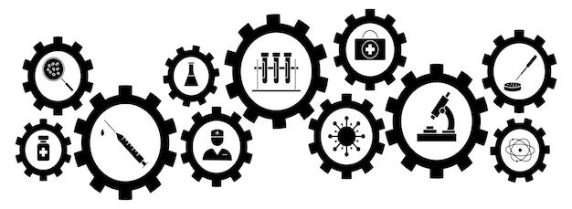 Entwicklung und herstellung eines impfstoffs. klinische forschung, antikörper, labor, immun, behandlung, spritze. impfstoffe zur vorbeugung. vektorlinie symbole. bearbeitbarer strich. elemente medizinischer fächer.