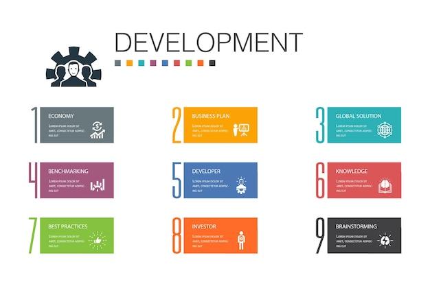 Entwicklungsinfografik 10 optionszeilenkonzept. globale lösung, wissen, investor, brainstorming einfacher symbole