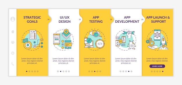 Entwicklungsprozess für mobile apps auf boarding-vorlage.